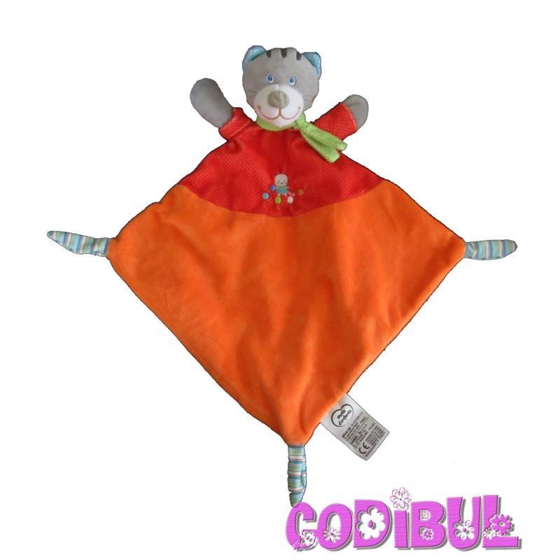 Doudou plat losange chat orange rouge écharpe vert pois Mots d/'Enfants cadeau